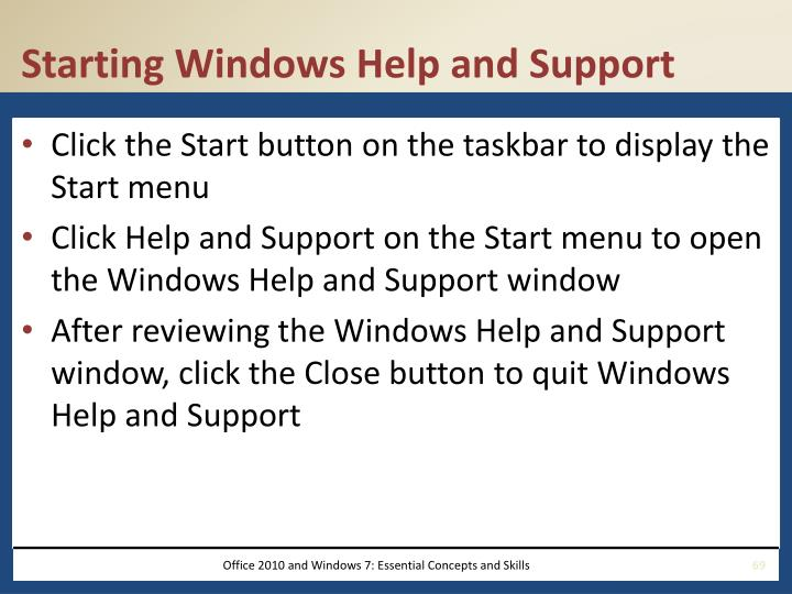 Starting Windows Help and Support