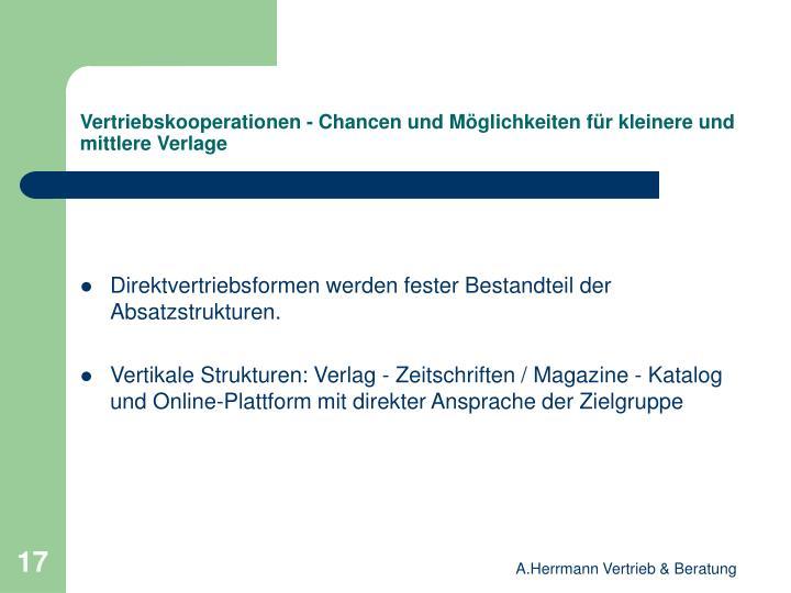 Vertriebskooperationen - Chancen und Möglichkeiten für kleinere und mittlere Verlage