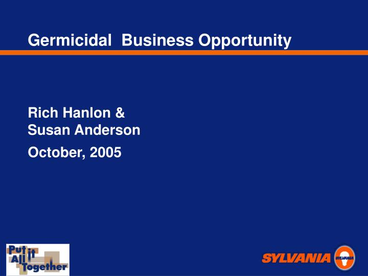 Germicidal  Business Opportunity