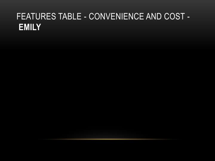 Features table - convenience and cost -