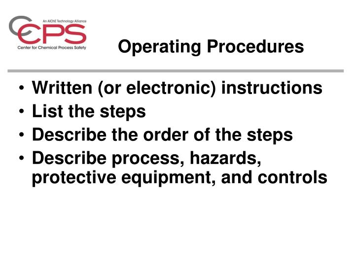 Operating Procedures