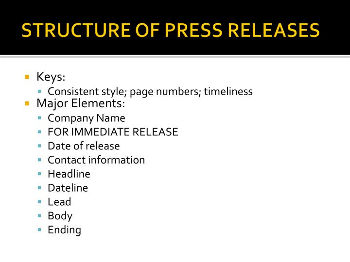 STRUCTURE OF PRESS RELEASES