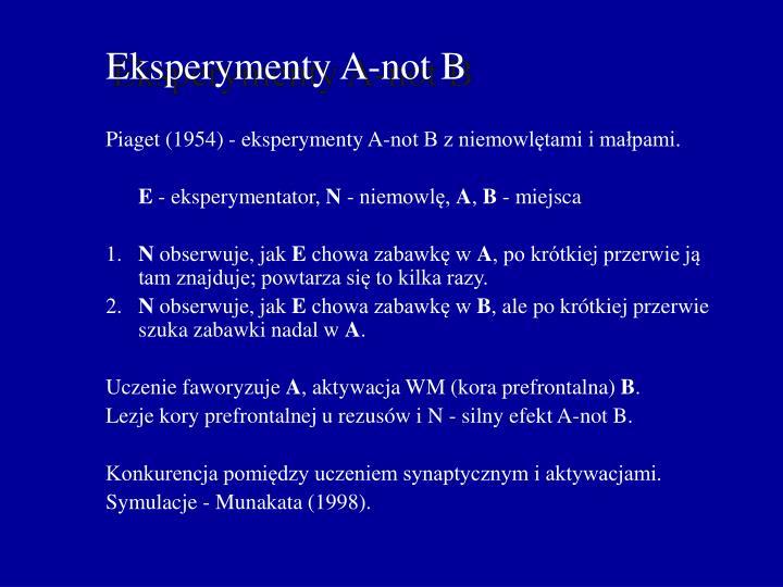 Piaget (1954) - eksperymenty A-not B z niemowlętami i małpami.