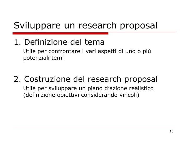 Sviluppare un research proposal