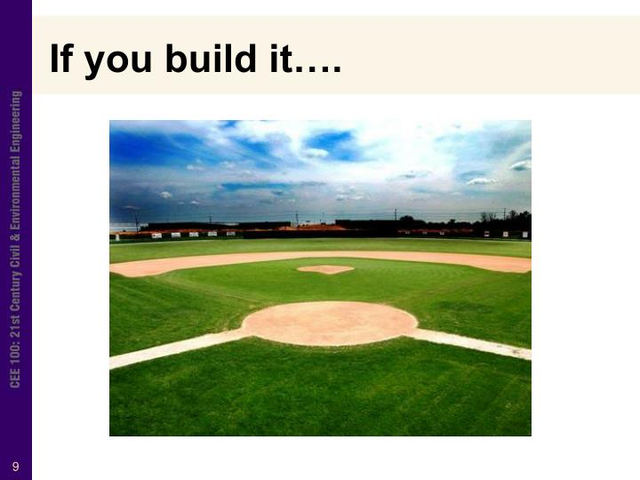 If you build it….
