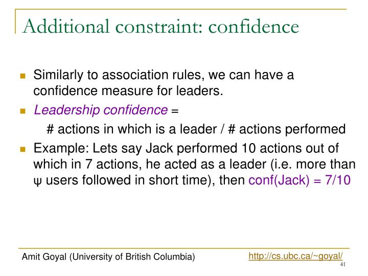 Additional constraint: confidence