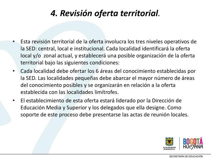 4. Revisión oferta territorial