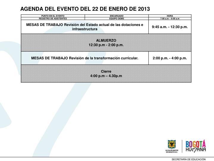 AGENDA DEL EVENTO DEL 22 DE ENERO DE 2013