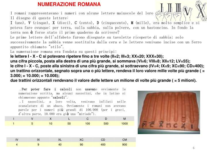 NUMERAZIONE ROMANA
