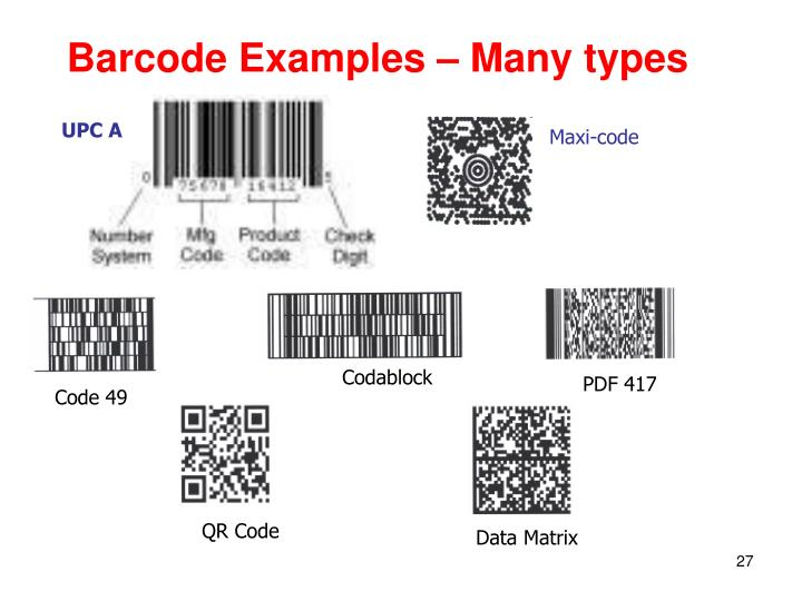 Barcode Examples – Many types