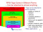 rfid tags come in different forms can be attached to almost anything