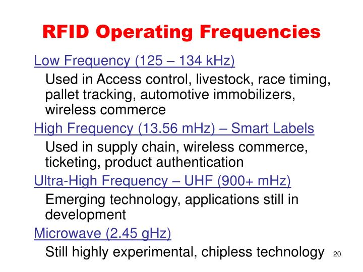 RFID Operating Frequencies