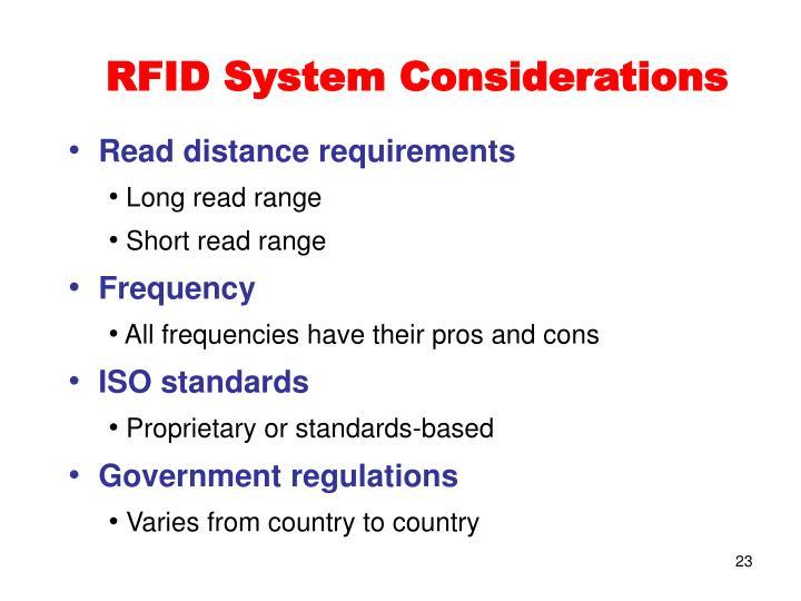 RFID System Considerations