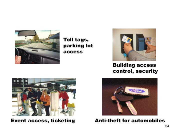 Toll tags, parking lot access