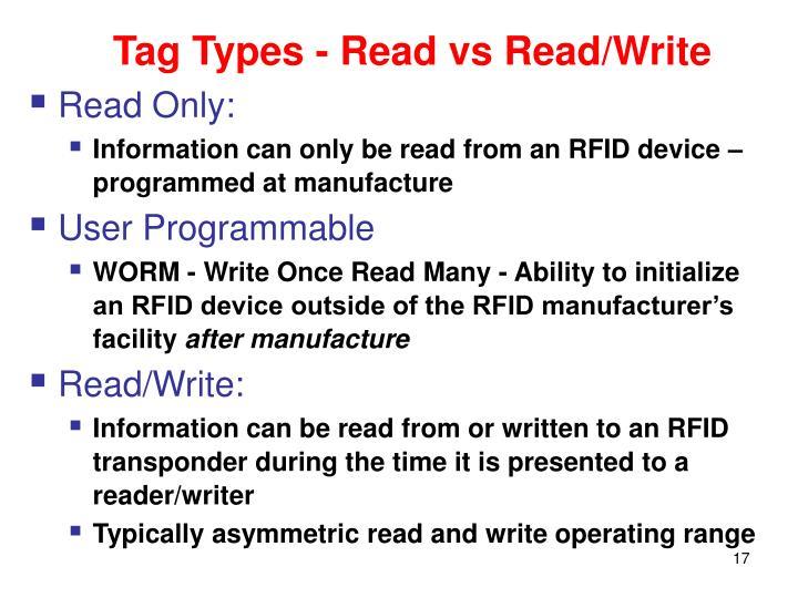 Tag Types - Read vs Read/Write