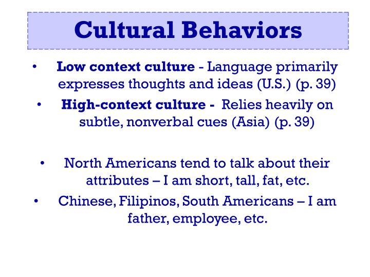 Low context culture
