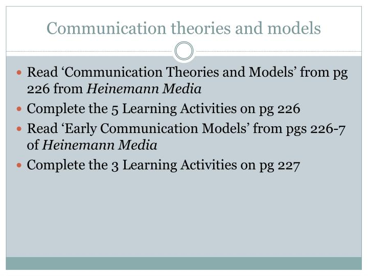Communication theories and models