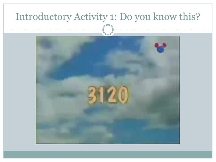 Introductory Activity 1: Do you know