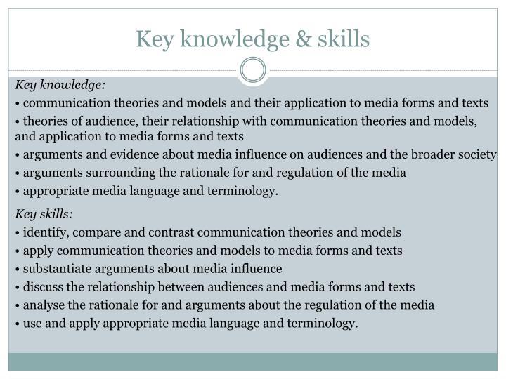 Key knowledge & skills