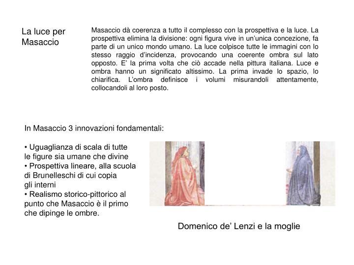 La luce per Masaccio