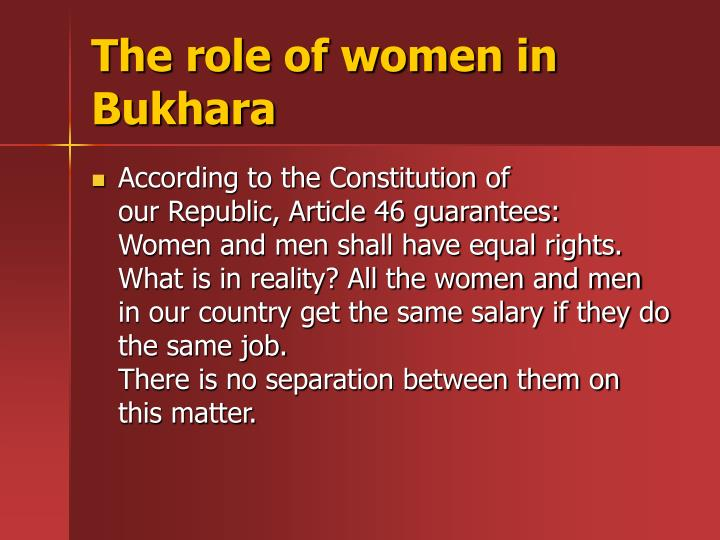 The role of women in Bukhara