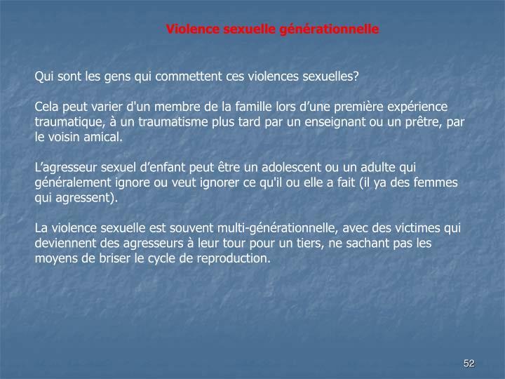 Violence sexuelle générationnelle