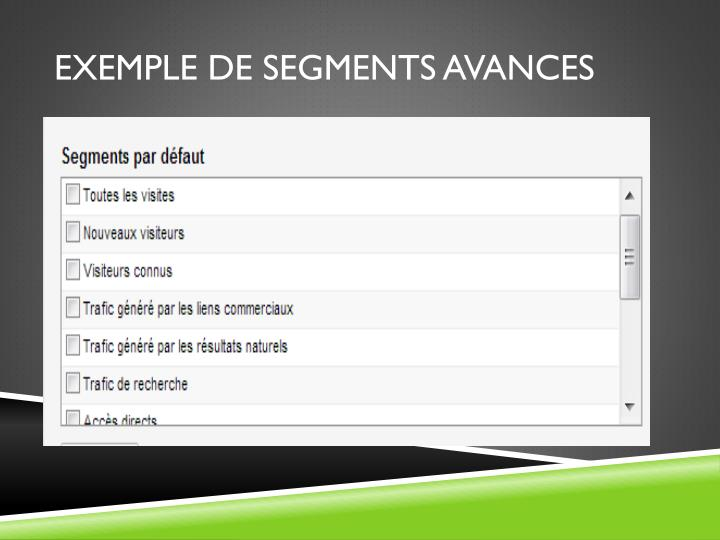 Exemple de segments avances