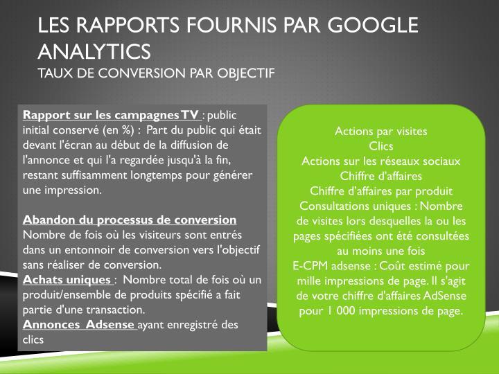les rapports fournis par Google