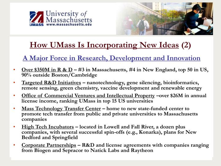 How UMass Is Incorporating New Ideas