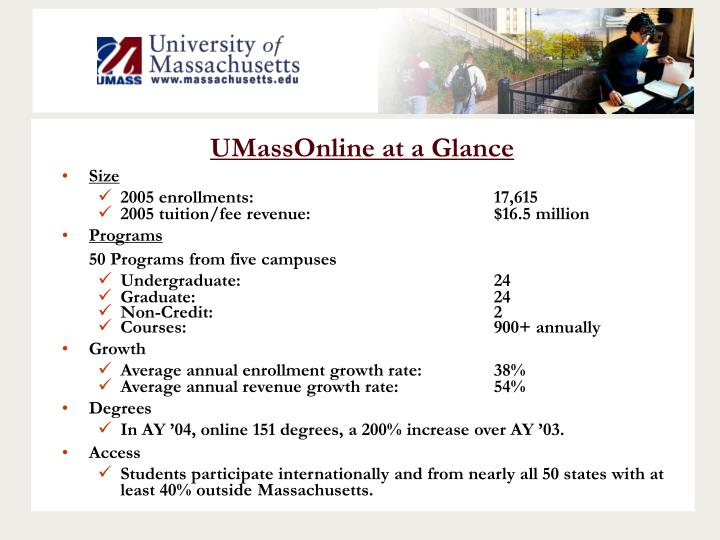 UMassOnline at a Glance
