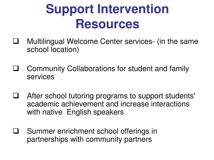 Support Intervention Resources
