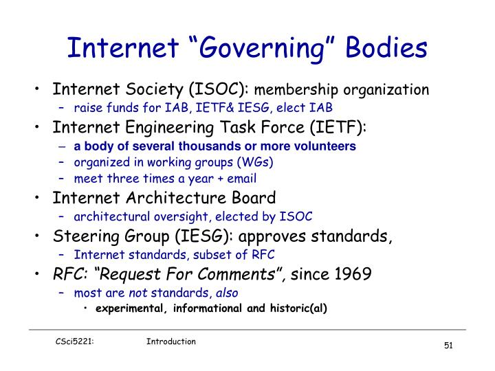 "Internet ""Governing"" Bodies"