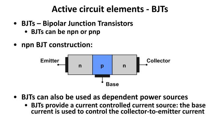 Active circuit elements - BJTs