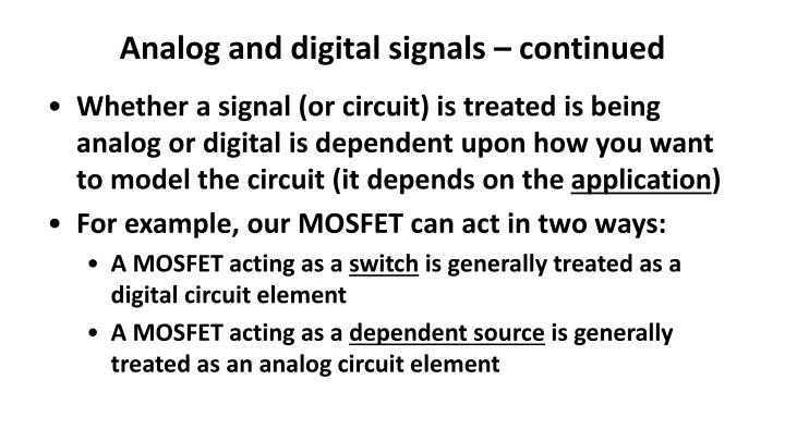 Analog and digital signals – continued