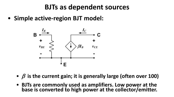 BJTs as dependent sources
