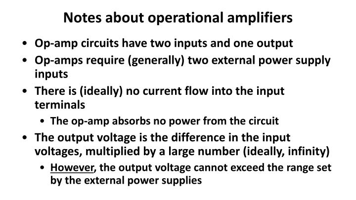 Notes about operational amplifiers