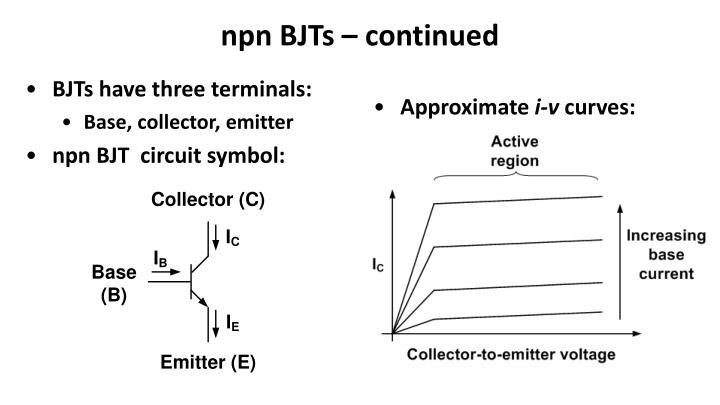 npn BJTs – continued