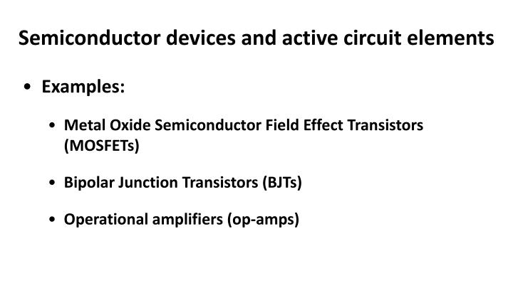 Semiconductor devices and active circuit elements