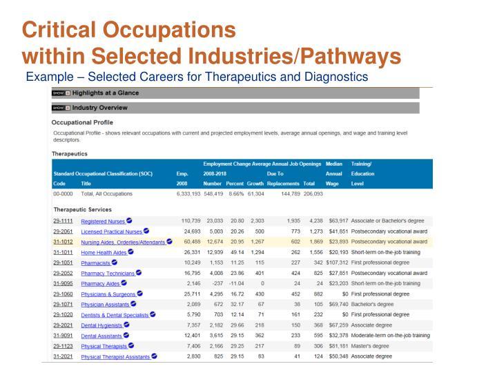 Critical Occupations