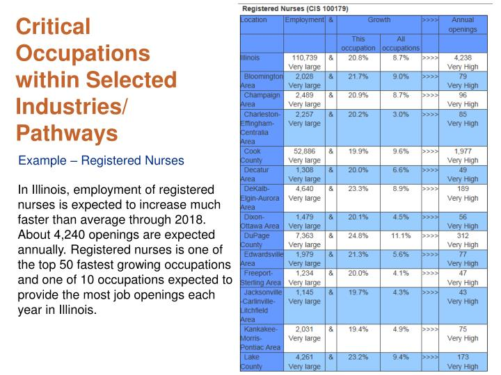 Critical Occupations within Selected Industries/