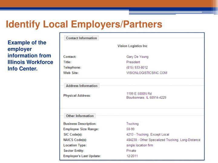 Identify Local Employers/Partners