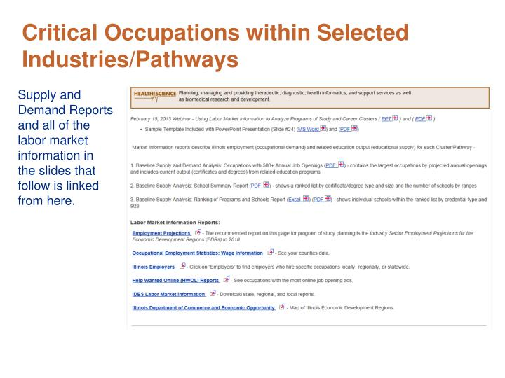 Critical Occupations within Selected Industries/Pathways