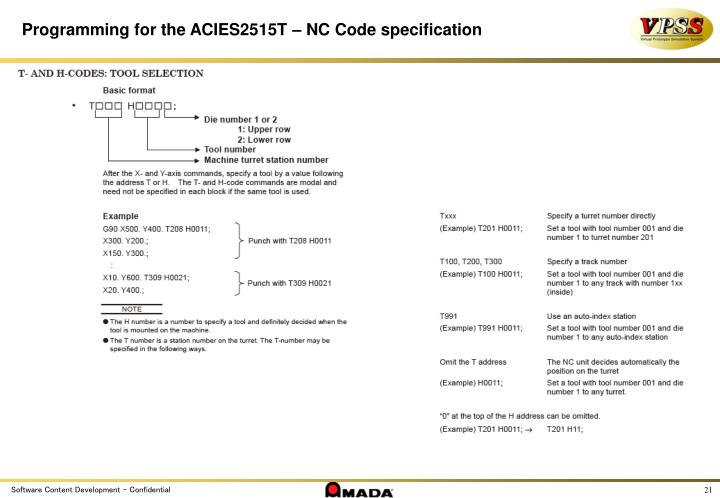 Programming for the ACIES2515T – NC Code specification