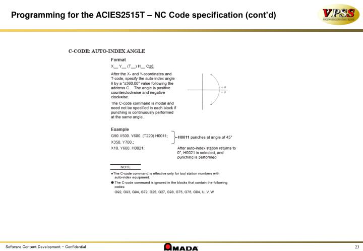 Programming for the ACIES2515T – NC Code specification (cont'd)