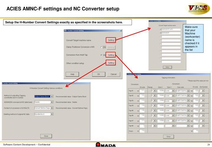 ACIES AMNC-F settings and NC Converter setup