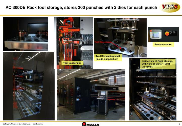 ACI300DE Rack tool storage, stores 300 punches with 2 dies for each punch