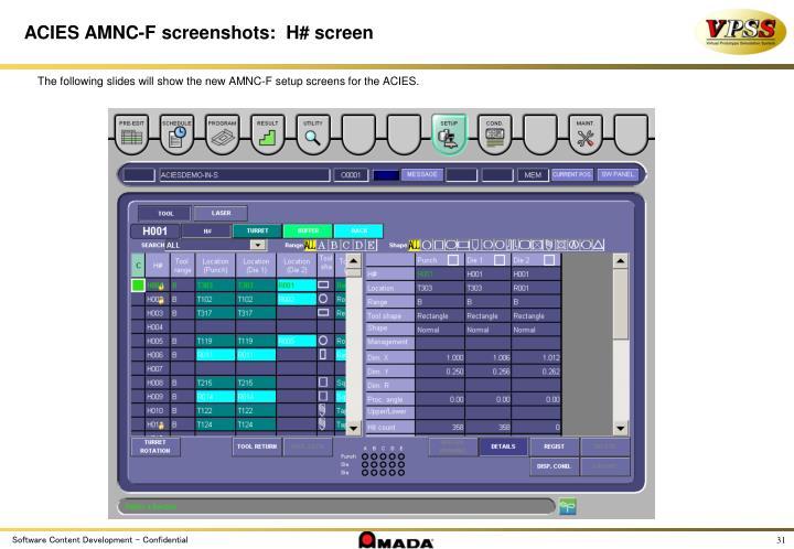 ACIES AMNC-F screenshots:  H# screen