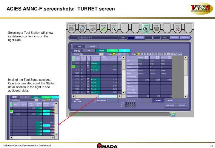 ACIES AMNC-F screenshots:  TURRET screen
