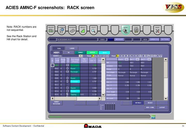 ACIES AMNC-F screenshots:  RACK screen