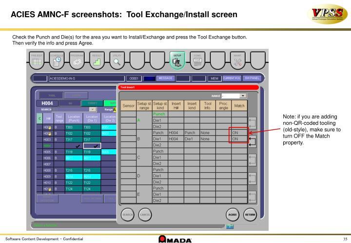 ACIES AMNC-F screenshots:  Tool Exchange/Install screen